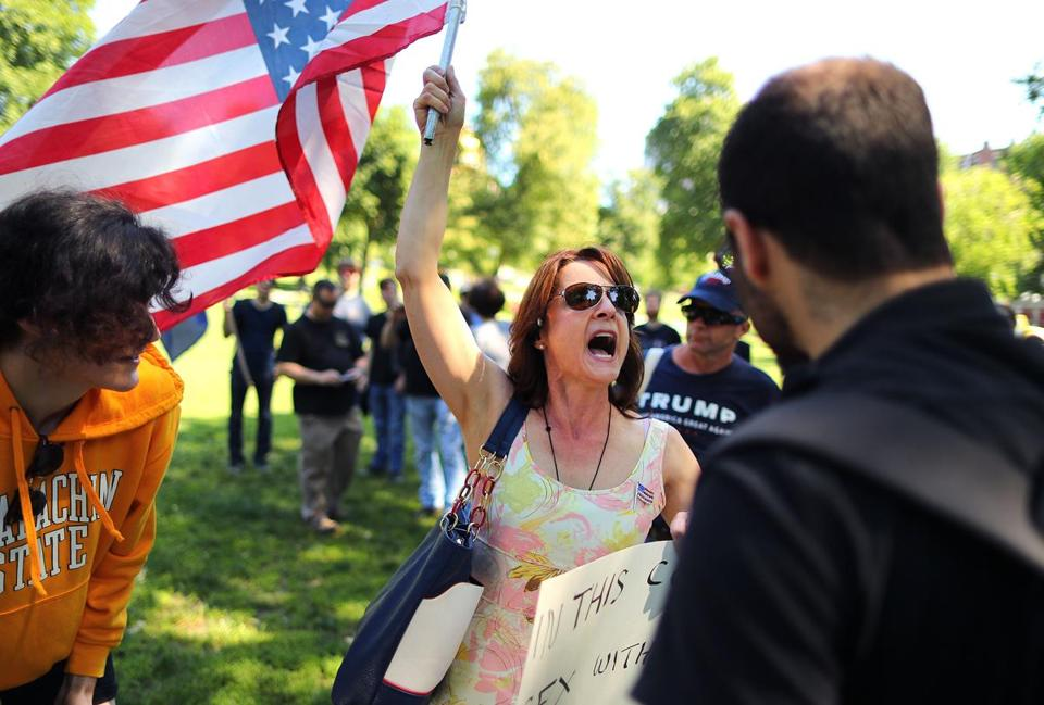 A woman yelled at a man on Boston Common during a protest on Saturday.