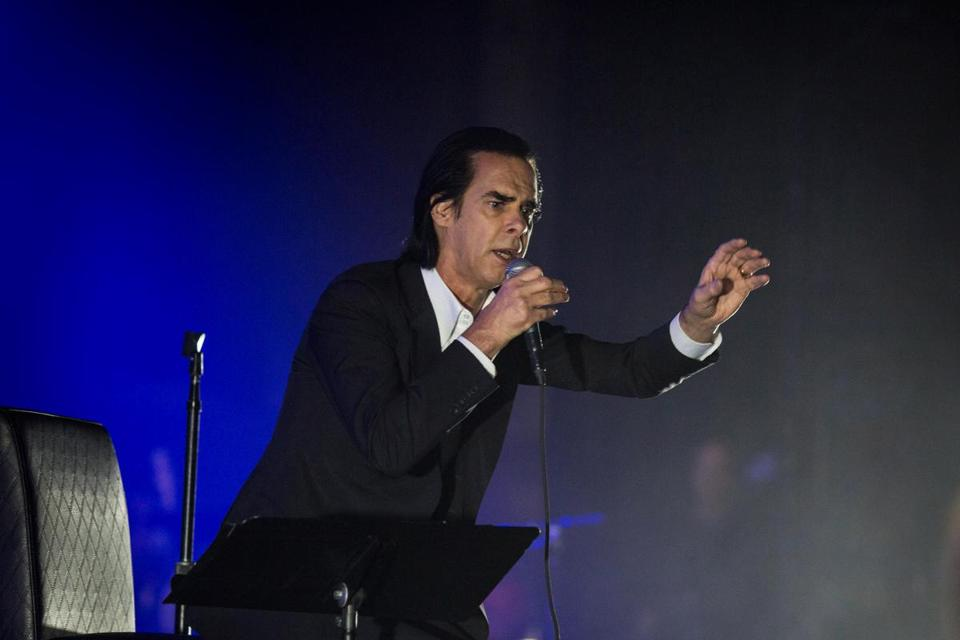 Nick Cave onstage at the Wang Theatre on Saturday night.