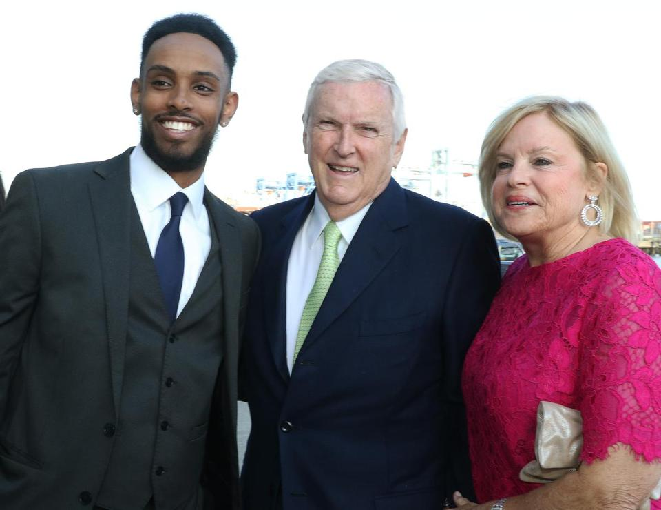 Jonathan Bekele with Jack and Eileen Connors at Camp Harbor View's Beach Ball.