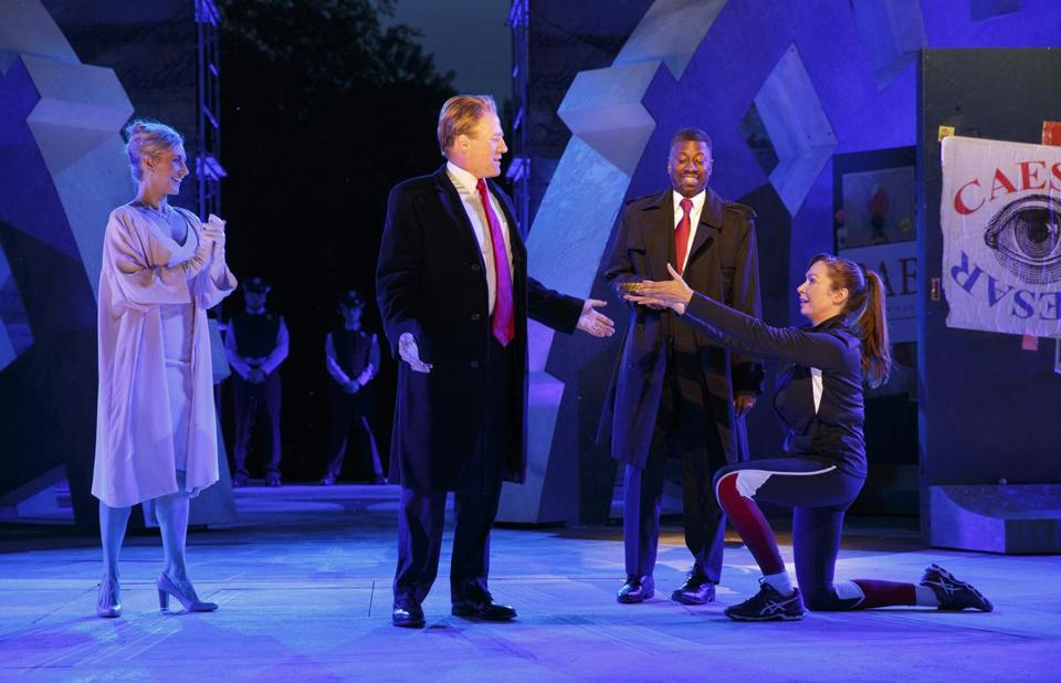 A production in New York's Central Park has become a national flashpoint for its depiction of the stabbing assassination of its Trump-like title character.