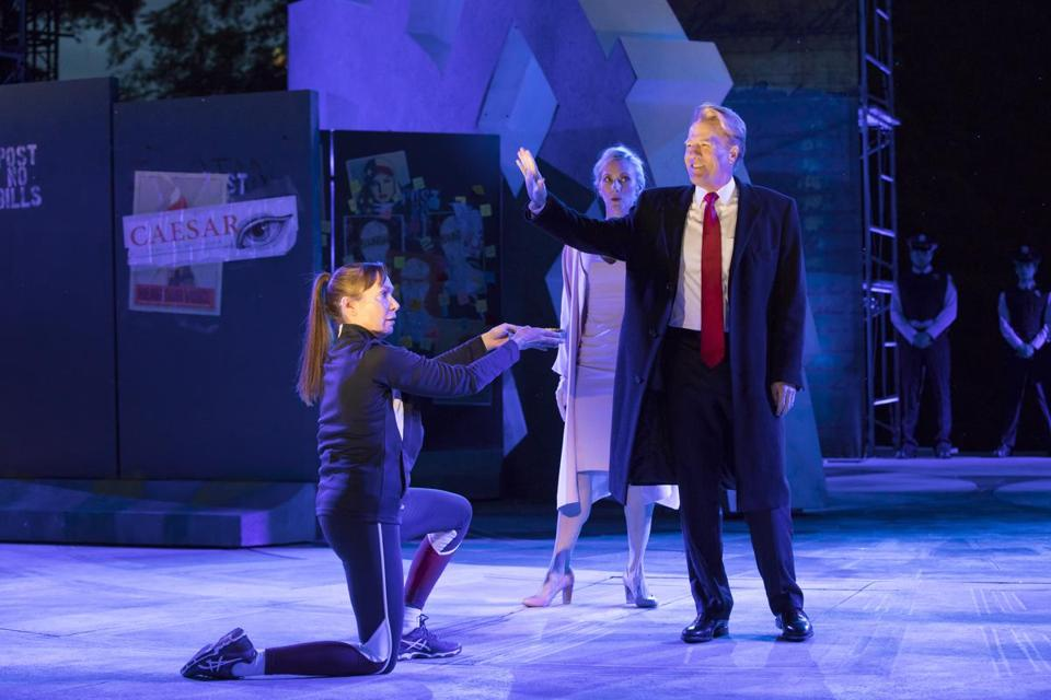 "From left: Elizabeth Marvel, Tina Benko, and Gregg Henry in a recent preview of The Public Theater's ""Julius Caesar."""
