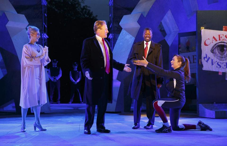 "Gregg Henry (center left) portrays President Trump in a New York-based theater company's rendition of Shakespeare's ""Julius Caesar."""
