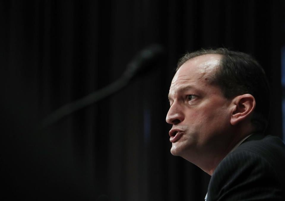 Labor secretary-designate Alexander Acosta, testifies on Capitol Hill in Washington, Wednesday, March 22, 2017, at his confirmation hearing before the Senate Health, Education, Labor and Pensions Committee. (AP Photo/Manuel Balce Ceneta)