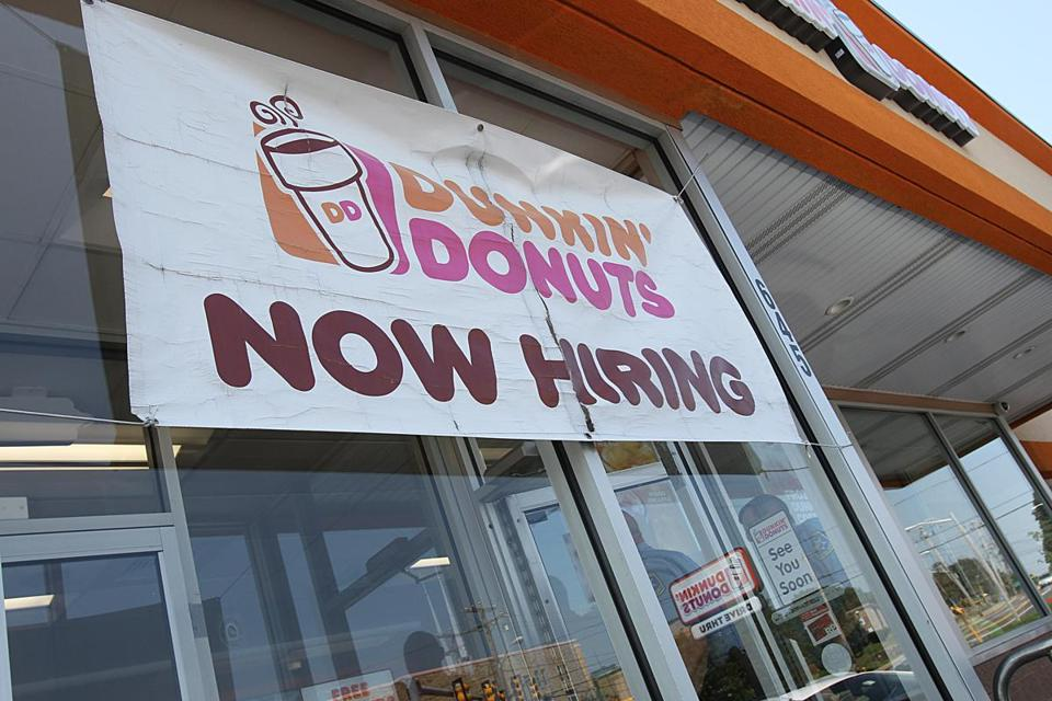 North Weymouth, Ma., 06/13/17, Hiring sign in the front of Dunkin' Donuts. Employers struggle to find workers as the unemployment rate hits a 16-year low and the number of job openings rises to the highest level since 2000. Suzanne Kreiter/Globe Staff