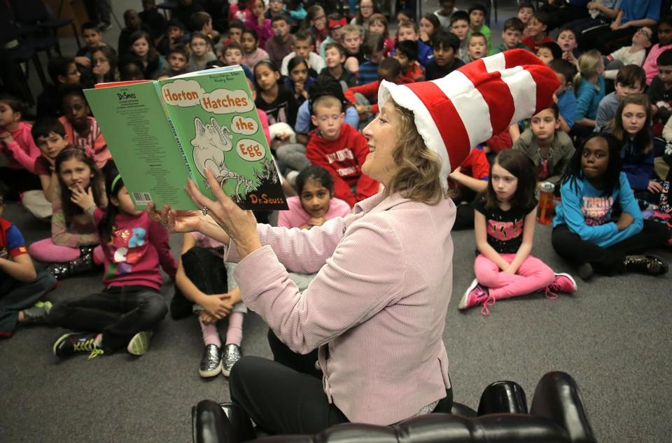Lauren Baker read 'Horton Hatches the Egg,' by Dr. Seuss, to third-graders at the Francis Wyman Elementary School in Burlington in March.