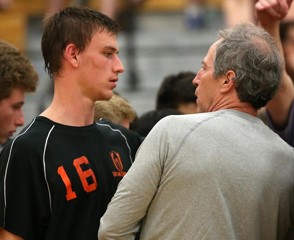 Wellesley MA 6/12/17 Wayland High Jackson Fletcher shares a moment with his father, Rod Fletcher their head coach during a time out against Needham High during the 2017 MIAA Division 1 boys' volleyball state semifinals at Wellesley High. (Matthew J. Lee/Globe staff) topic: 13needvolley reporter: