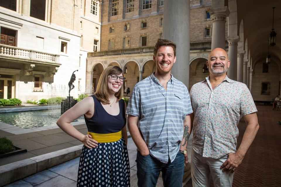 Playwright-in-residence John J. King (center) with Fresh Ink literary director Jessie Baxter and director of library services Michael Colford at the Boston Public Library.