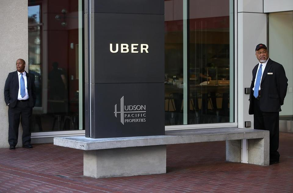Security guards outside Uber headquarters in San Francisco earlier this week.