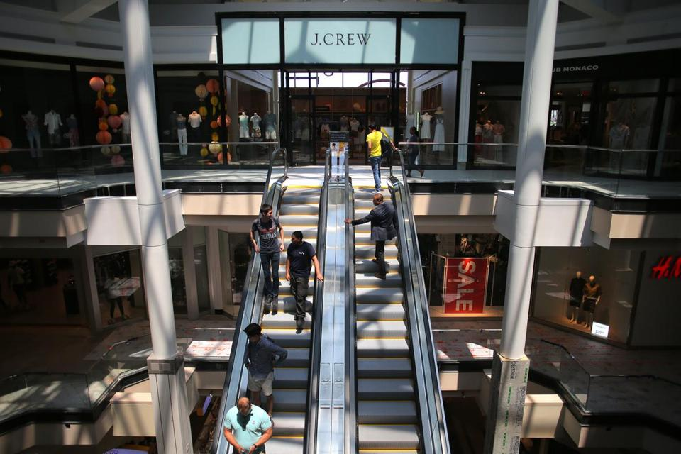 New escalators brought patrons to the J. Crew store on the third level of the mall.