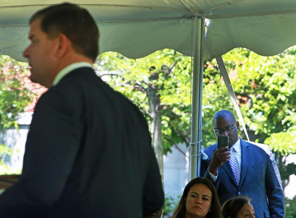 Boston City Councilor Tito Jackson looked on as Boston Mayor Martin J. Walsh delivered remarks earlier this month.
