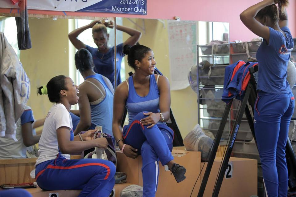 Cuban fencers relaxed at the International Fencing Club after their training in preparation of competition this Sunday at Brandeis University.
