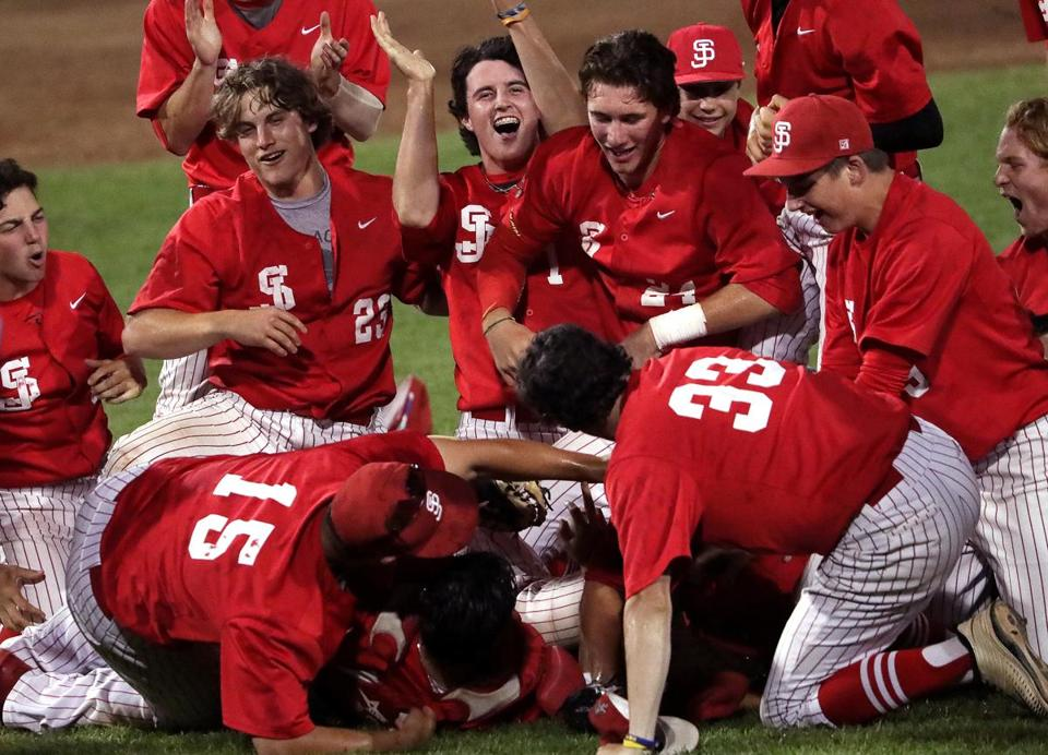 Mission accomplished for the St. John's Shrewsbury baseball team after their 5-4 victory over St. John's Prep in the Super 8 baseball championship.