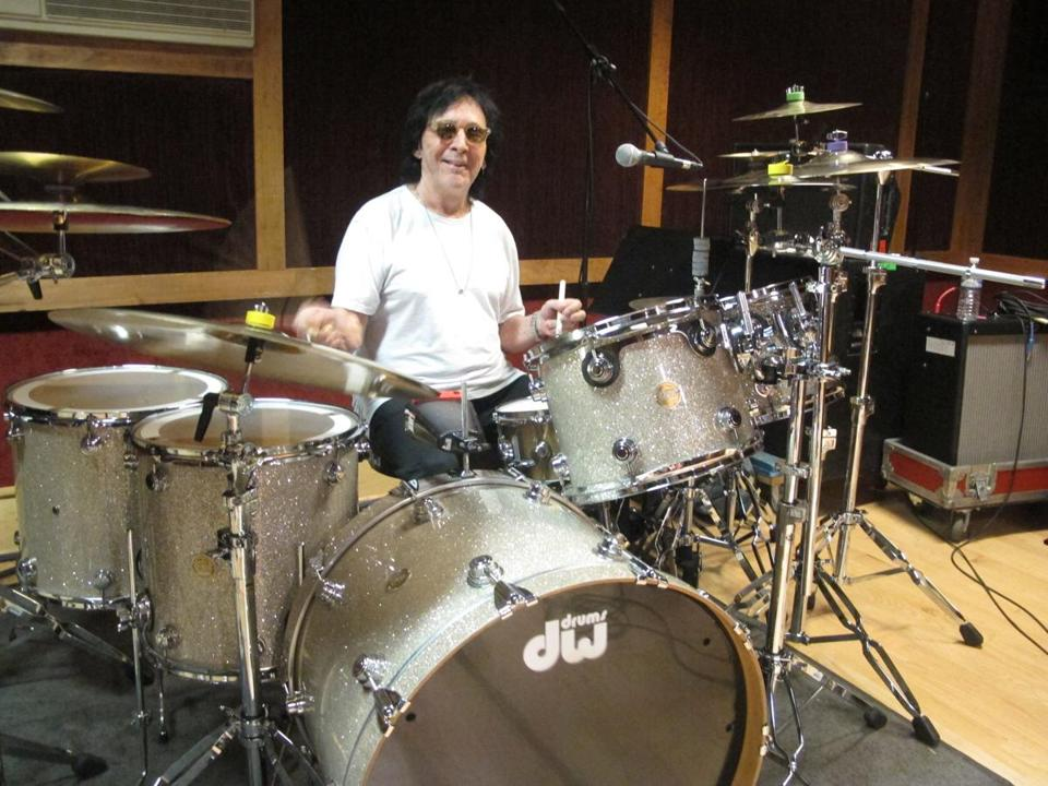 Drummer and vocalist Peter Criss rehearses in a New York City studio for his final US performance on Saturday.