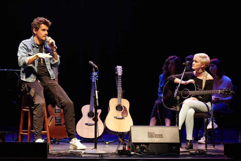 Berklee student Callie Sullivan joined John Mayer onstage during a songwriting master class at the school.