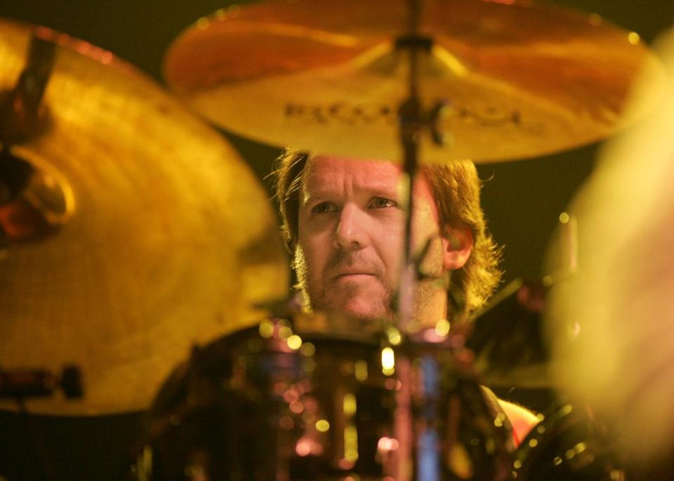 Drummer Jon Fishman of Phish performed at the Tweeter Center (now the Xfinity Center) in 2004.