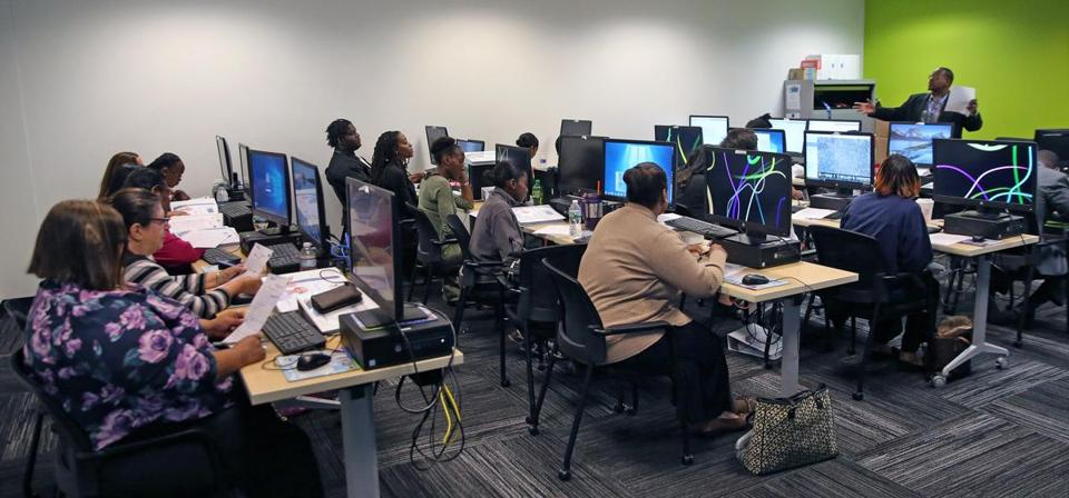 A class at the MBTA's new 'centralized call center.""