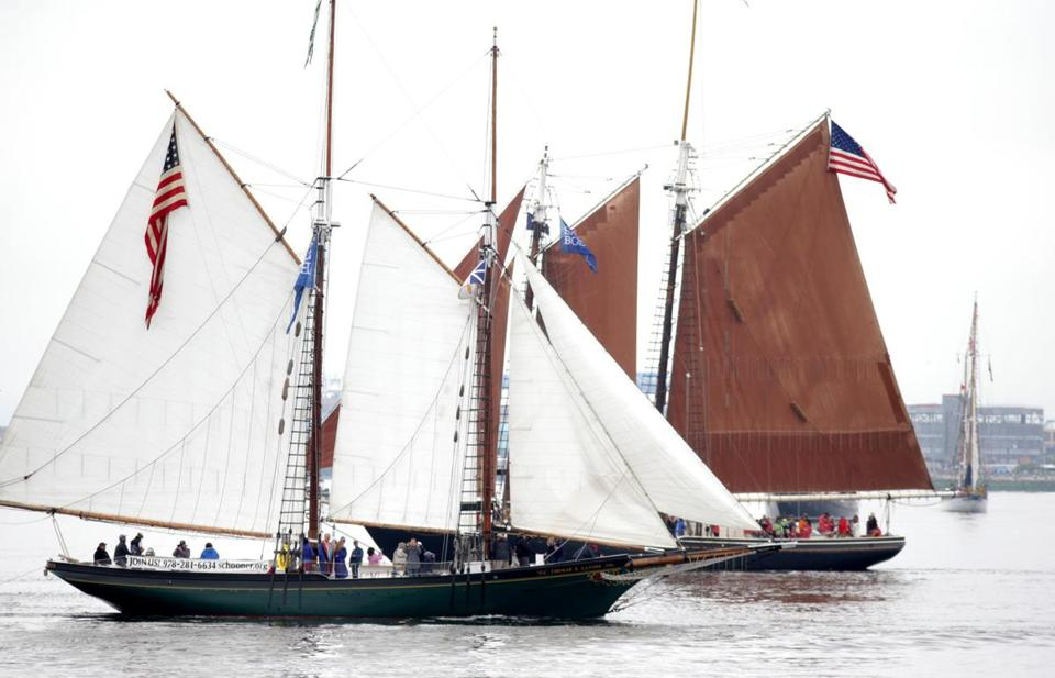 The Schooner Thomas E. Lannon during the Parade of Sail in Boston Harbor.