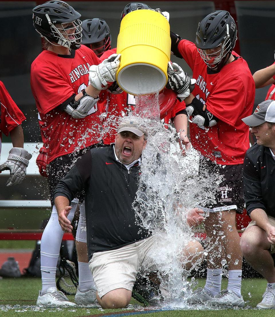 In the end, Hingham soaked up the victory by dousing head coach John Todd with a celebratory ice bucket shower.