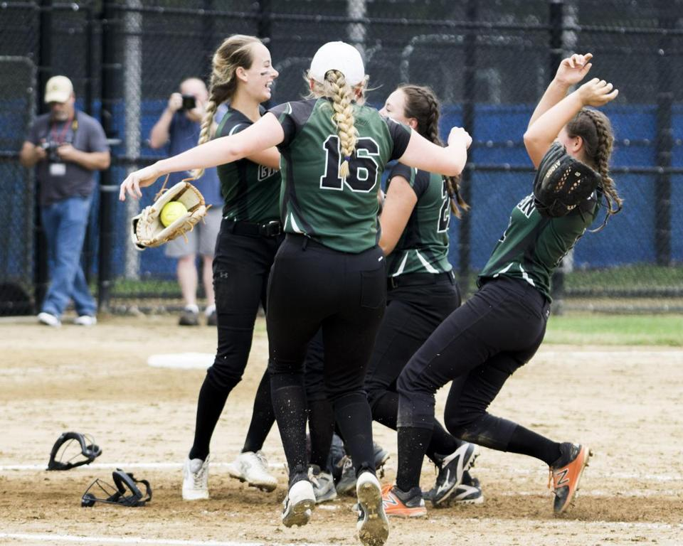 Grafton pitcher Savannah Small (left) celebrates with her teammates after 10-1 victory over Dracut in the Div. 2 state final.