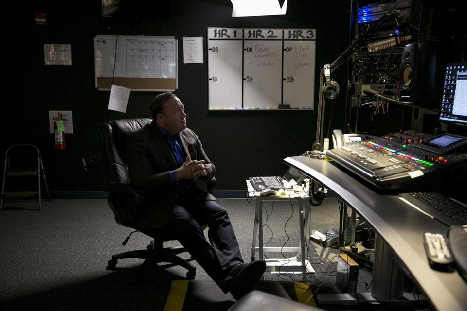 Alex Jones, conservative conspiracy theorist host of Infowars.com, in his Austin, Texas, control room, Feb. 17, 2017.  (Ilana Panich-Linsman/The New York Times)