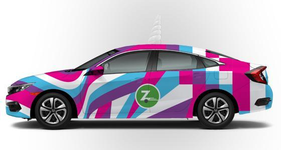A mock-up of Zipcar's upcoming limited-edition unicorn car, which will feature a unicorn horn.