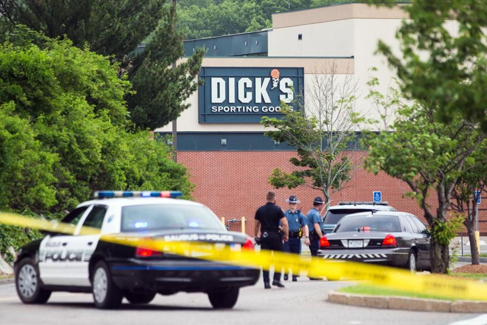 Police blocked off the entrances at Square One Mall in Saugus after a man was reported to be armed inside the Dick's Sporting Goods store.