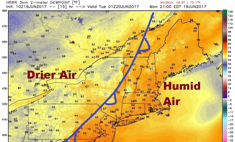 Once a front pushes east, drier air will move into New England.