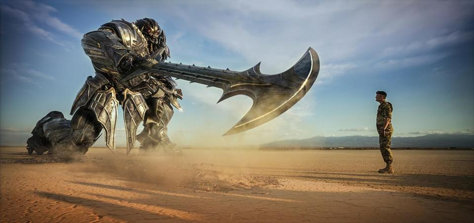 "Megatron (voiced by Frank Welker) and Josh Duhamel in ""Transformers: The Last Knight."""