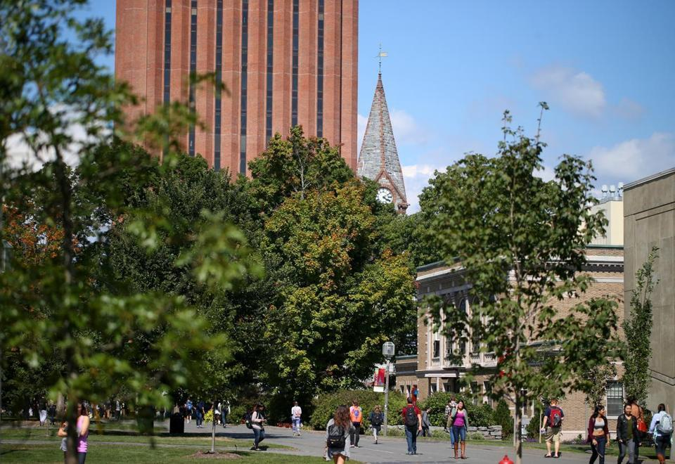 Students on the UMass Amherst campus