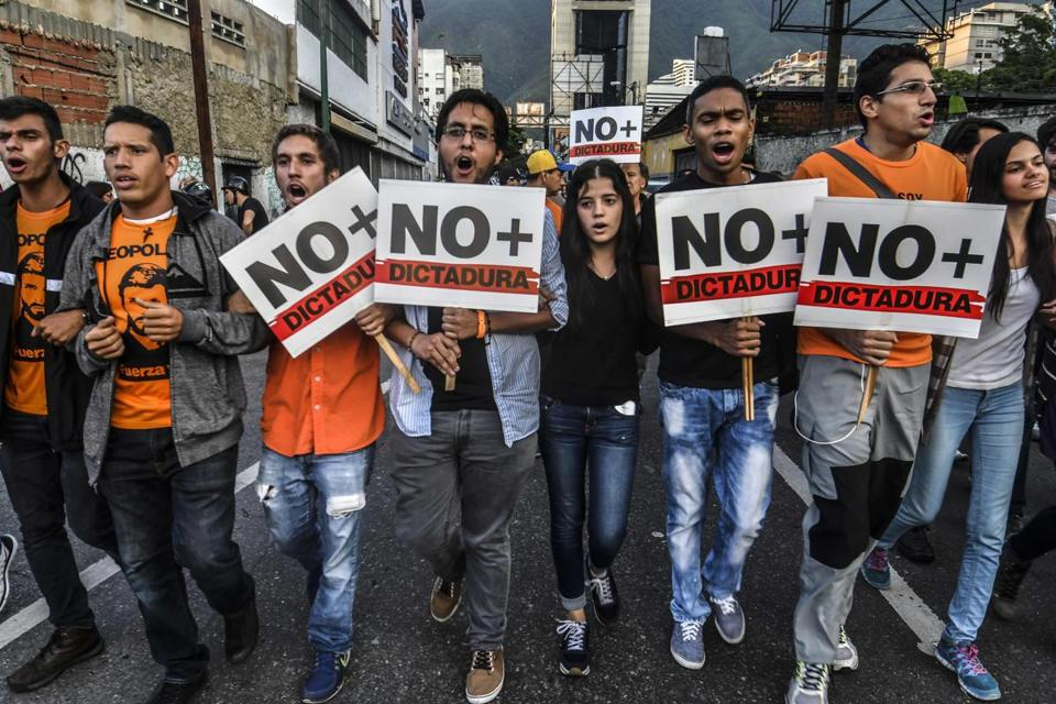 Opposition demonstrators marched in Caracas last week.