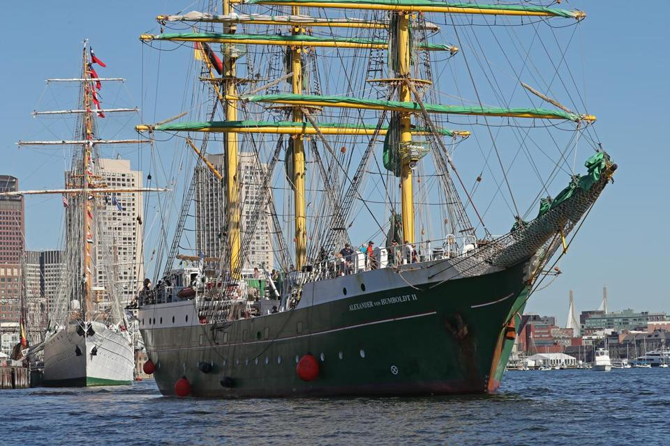 The Alexander von Humboldt ll got underway with other Tall Ships departing Boston Harbor.