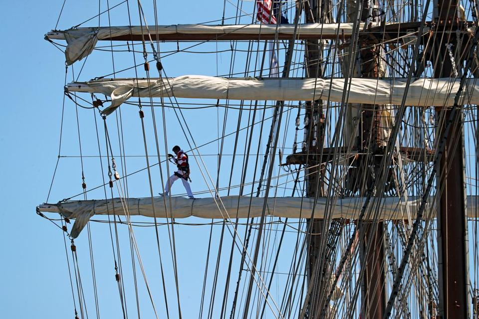 A crew member onboard the Peruvian Navy tall ship Union.