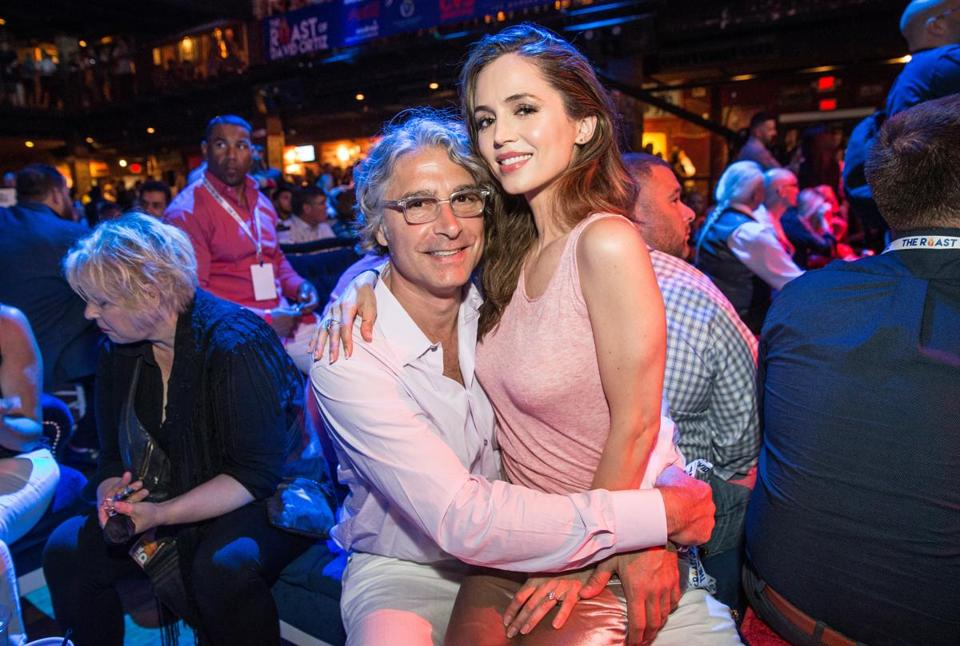 06/22/2017 BOSTON, MA Eliza Dushku (cq) (right) sits with her fiancé Peter Palandjian (cq) during The Roast of David Ortiz at the House of Blues in Boston. (Aram Boghosian for The Boston Globe)