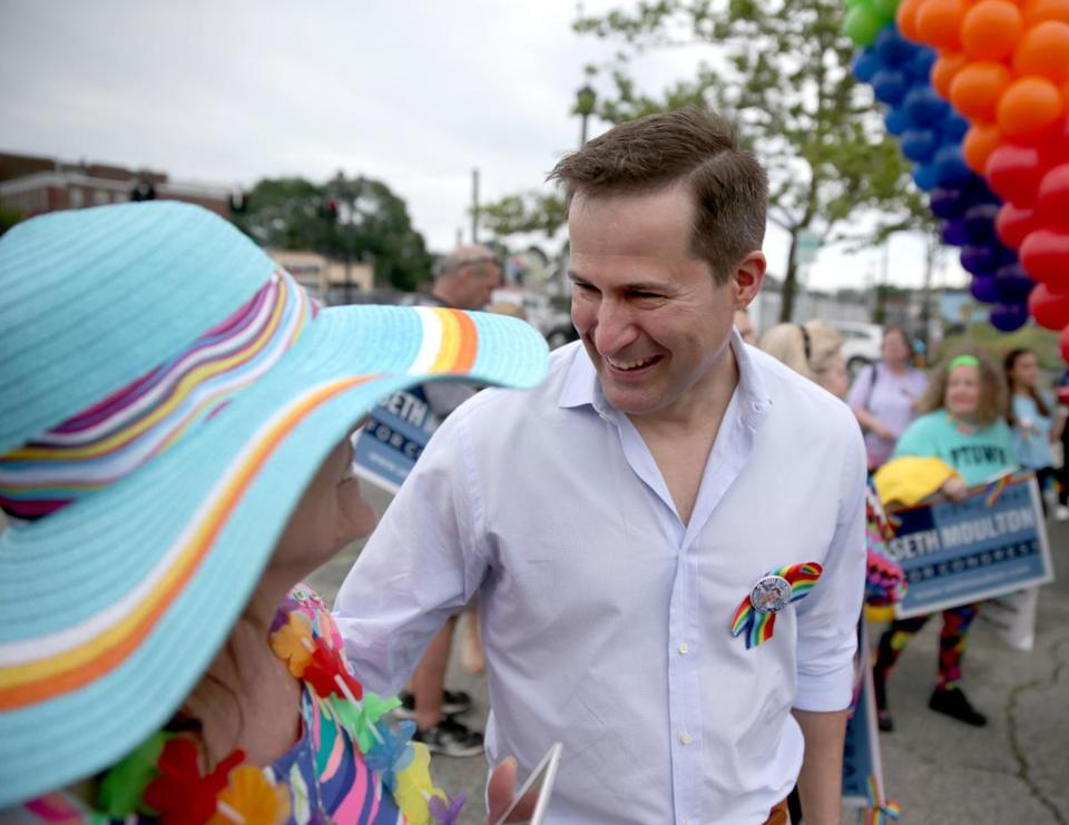 Congressman Seth Moulton at the Salem Gay Pride Parade.