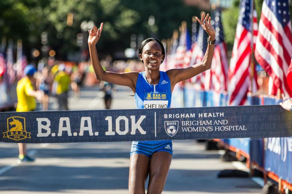 Joan Chelimo, seen in the 2017 B.A.A. 10k, repeated as women's B.A.A. Half Marathon champion on Sunday.