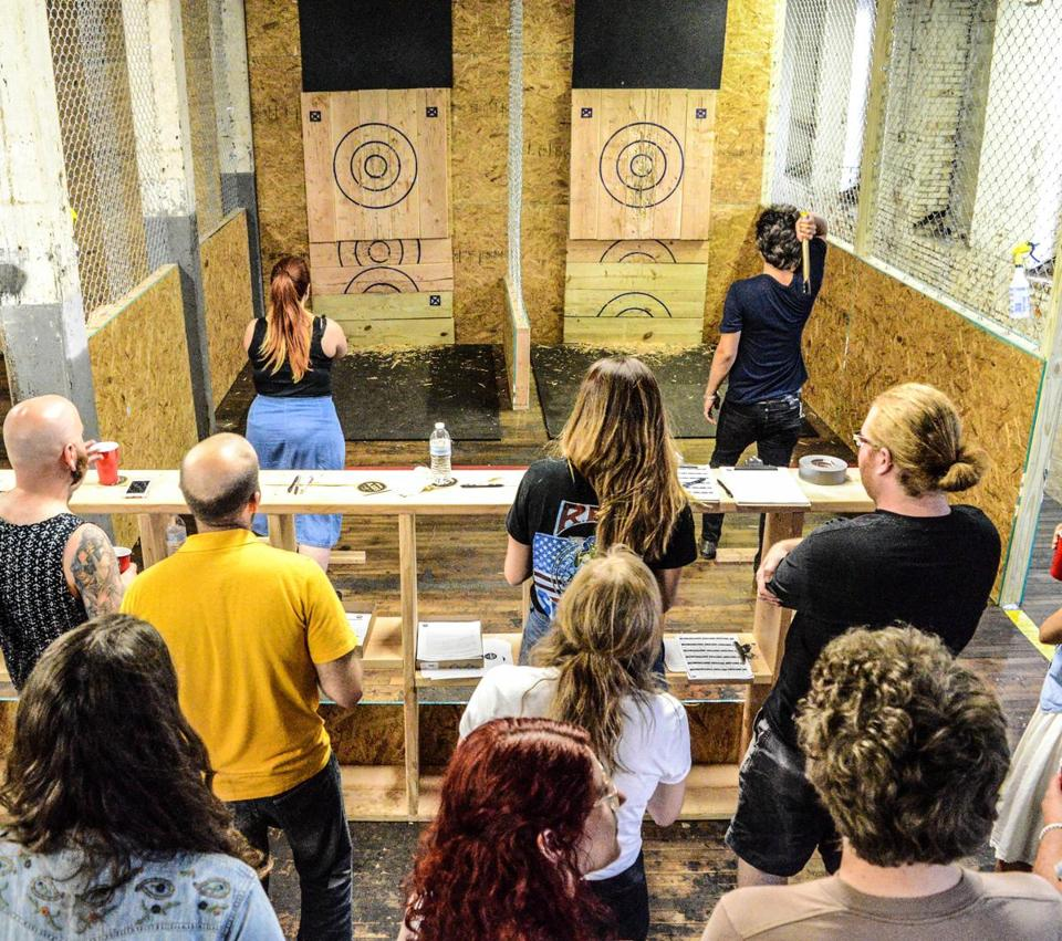 Indoor competitive ax throwing at Urban Axes.