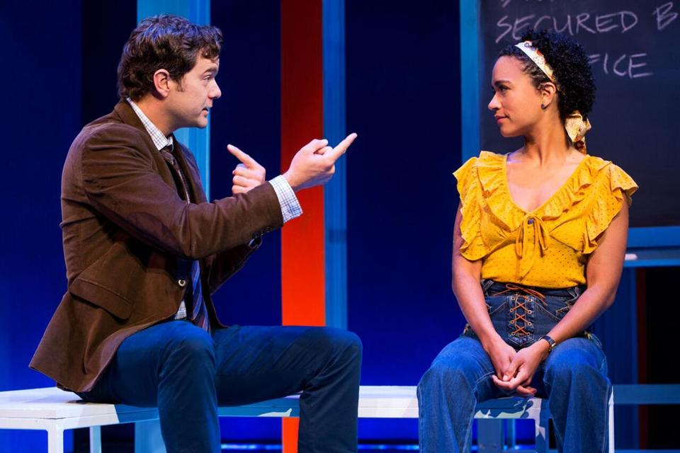 "Joshua Jackson and Lauren Ridloff in the Berkshire Theatre Group production of ""Children of a Lesser God."""