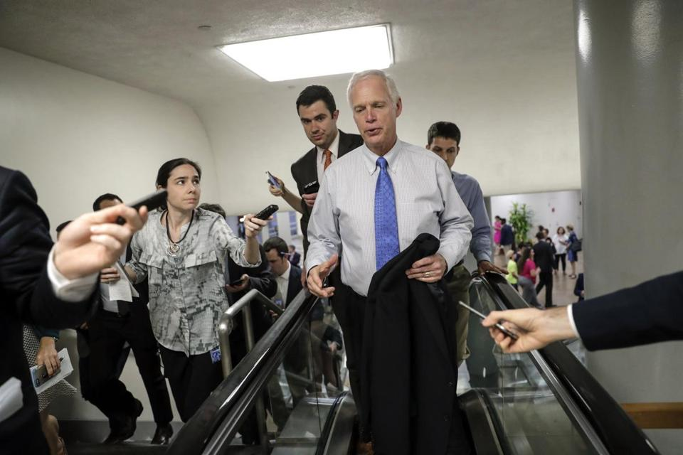 Senator Ron Johnson called the Republican leadership's effort to speed passage of their health care bill ''a little offensive'' and said conservatives had no input into the package.