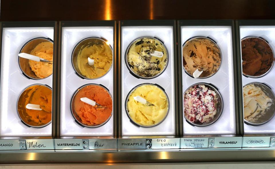 Some of the selections at the new Italian Café Gelato in Quincy.