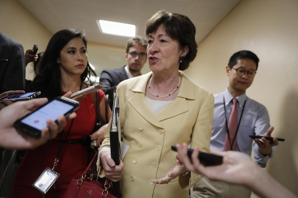 "Tweeted US Senator Susan Collins, Republican of Maine: ""I want to work w/ my GOP & Dem colleagues to fix the flaws in (the Affordable Care Act.) CBO analysis shows Senate bill won't do it."" Above: Collins at the Capitol last week."