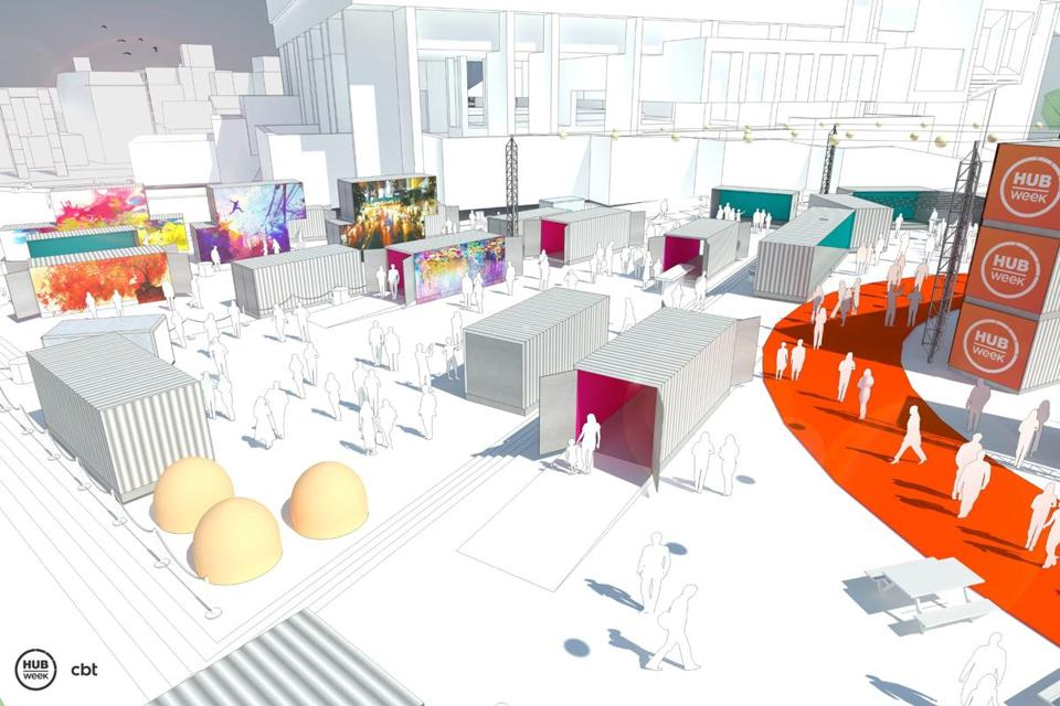 Rendering of HubWeek installation at City Hall.