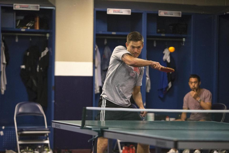 Some Ping-Pong in the locker room.