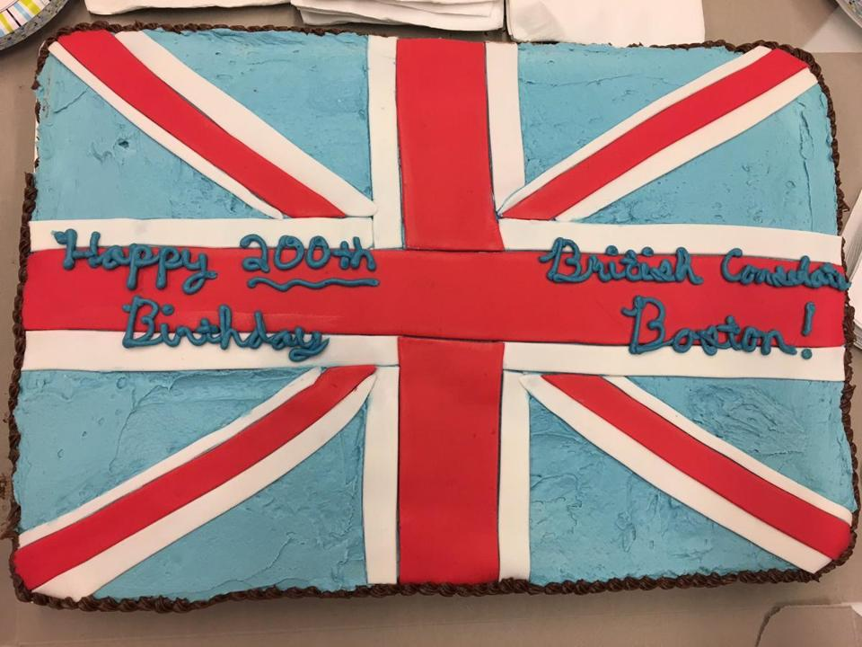 The cake celebrated 200 years of the British having a consulate in Boston.