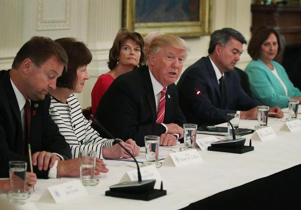 President Trump, who was generally disengaged on the health care legislation, spoke during a meeting Tuesday with Senate Republicans.