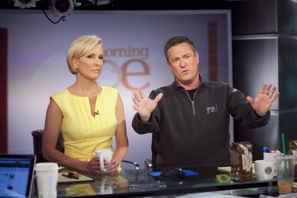 "Joe Scarborough, right, and Mika Brzezinski host MSNBC's ""Morning Joe"" at NBC Studios in 2010."