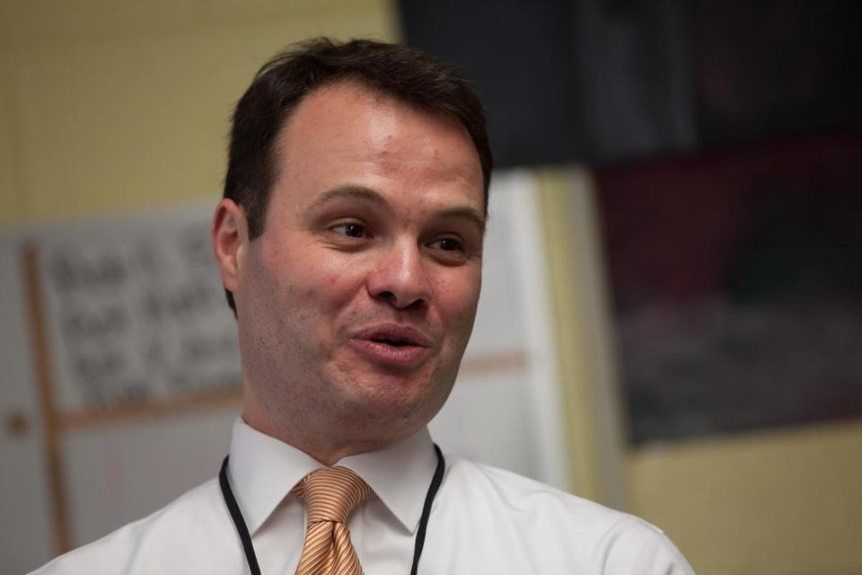 State Senator Eric Lesser (D-Longmeadow) speaks to students at Heritage Academy in Longmeadow on Tuesday, March 31, 2015 . Lesser picked up notes from the students that he will bring to the White House where each year he celebrates the Passover seder with President Obama. (Matthew Cavanaugh for The Boston Globe)