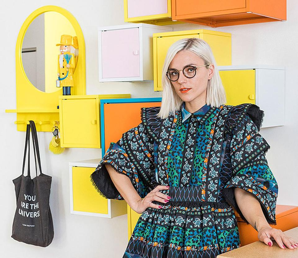 "Erin Robertson's ""Project Runway"" prize bounty included $100,000 to start her business. In her colorful Boston home, Robertson will design and sew — and collaborate with local innovators and artists."
