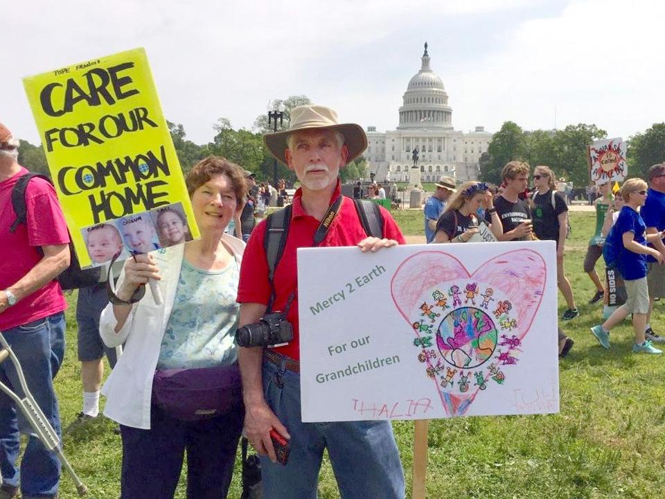 Boston Catholic Climate Movement steering committee members Fran Ludwig and Pete Dunbeck participated in a climate march in Washington on April 29.
