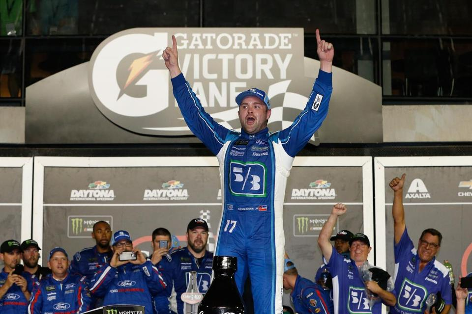 DAYTONA BEACH, FL - JULY 01: Ricky Stenhouse Jr., driver of the #17 Fifth Thrid Bank Ford, celebrates in Victory Lane after winning the Monster Energy NASCAR Cup Series 59th Annual Coke Zero 400 Powered By Coca-Cola at Daytona International Speedway on July 1, 2017 in Daytona Beach, Florida. (Photo by Brian Lawdermilk/Getty Images)