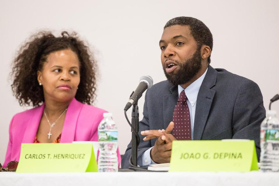 City Council hopefuls Kim Janey (left) and Carlos Henriquez were among 11 District 7 candidates running who addressed voters during a forum last month. District 7 incumbent Tito Jackson is giving up his seat to run for mayor.